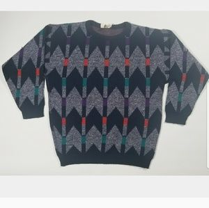 VTG Geometric Retro Indie 80s 90s Pullover Sweater